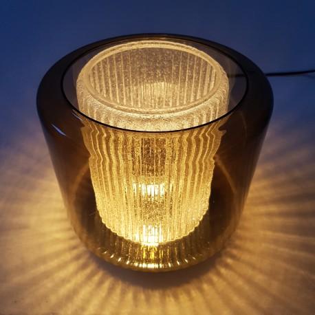 Lampe de table en verre fumé Raak B-1264 Amsterdam 1968