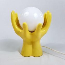 Lampe 2 mains tenant un globe en céramique jaune vintage années 70
