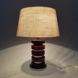 Pied de lampe bois et chrome vintage