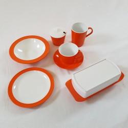 Ensemble de vaisselle melamine orange vintage