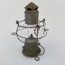 Lampe Lanterne marine en metal galvanisé avec globe cage grillagé