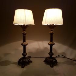 Paire de lampes porte cierge d'église ancien