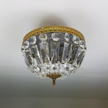 Plafonnier corbeille ancien à pampilles de cristal