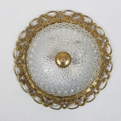 Plafonnier monture doré et globe en verre