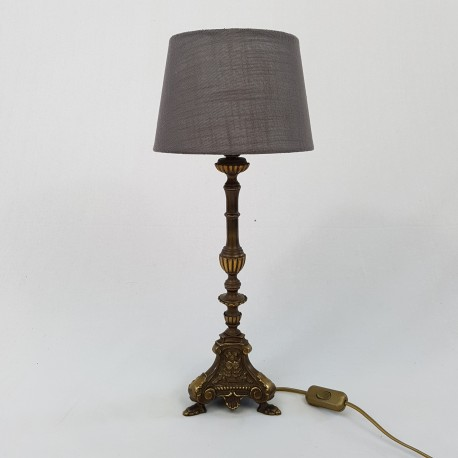 Lampe en bronze façon pique cierge ancien