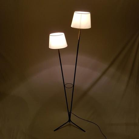 Lampadaire tripode deux feux noir et or style années 50