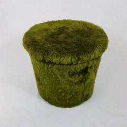 Tabouret coffre pouf Pelfran moumoute verte vintage 1970
