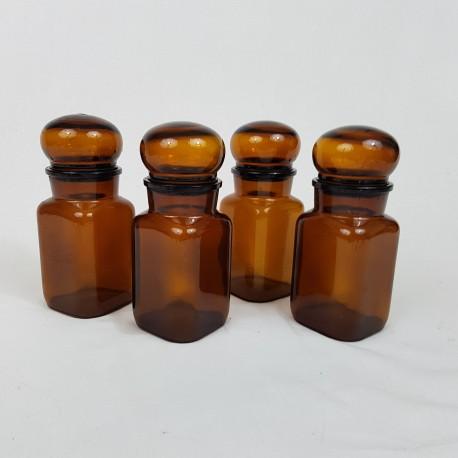 Lot de 4 flacons bocaux genre apothicaire en verre ambré