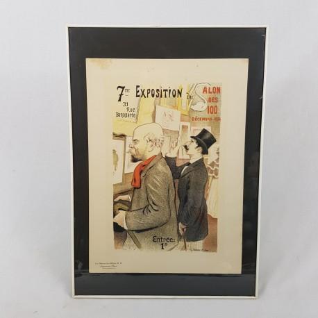 Lithographie ancienne encadrée 7e exposition