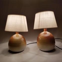Paire de lampes de Chevet en céramique Les Cyclades Roland Zobel