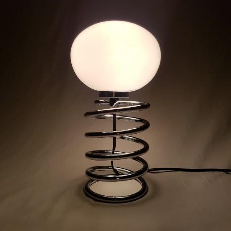 Lampe ressort chromé et opaline Ingo Maurer