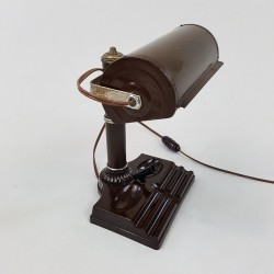 Lampe de bureau style banquier en bakelite marron Altas Appliance Brooklin