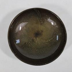 Coupe vide poche de Murano verre noir et inclusion d'or