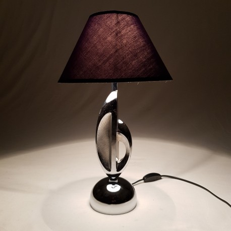 Lampe moderniste en metal chromé
