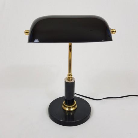 Lampe de bureau avec socle en pierre et opaline noire