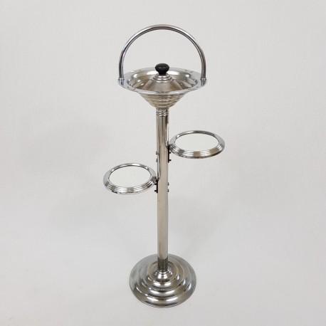 Cendrier pied fumeur métal chromé de style Art Deco