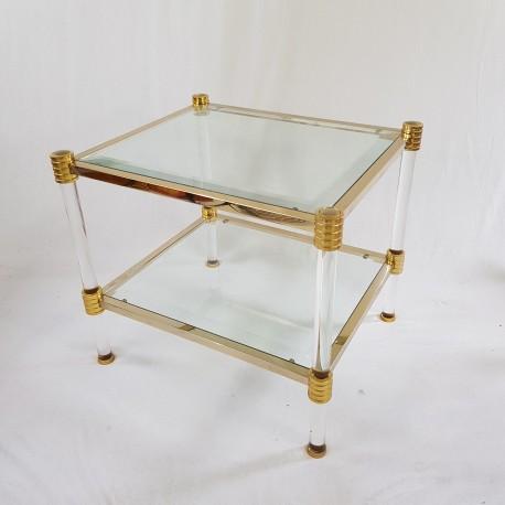 Table basse en lucite et acier doré