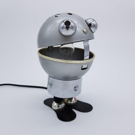 Lampe de chevet ambiance space age vintage robot métal Setco