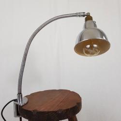 Lampe d'atelier bureau fixation étau chrome et alu ELAU