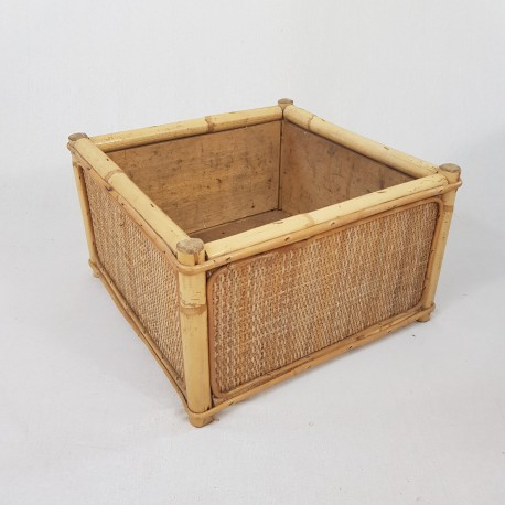 Jardiniere d intérieur de forme carré en bois bambou rotin vintage