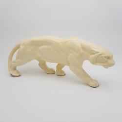 Panthère Tigre Céramique beige craquelé Art Déco