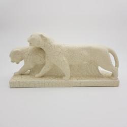 Panthère couple de Tigres Céramique beige craquelé Art Déco