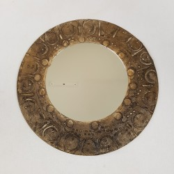 Miroir rond circulaire céramique vintage