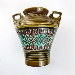 Vase à anses en céramique allemande vert Fat Lava Era