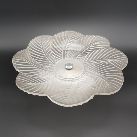Coupe a fruits verre pressé dépoli Art DecoPierre d'Avesn France (no Lalique )