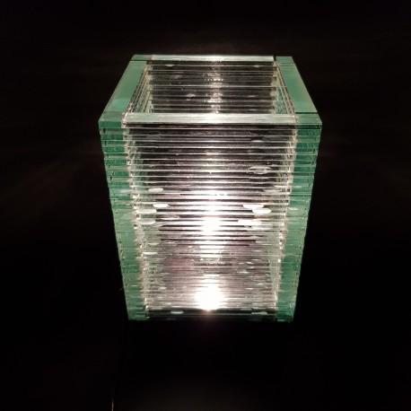 Lampe de chevet ou d'ambiance en lamelles de verre vintage années 70/80 design