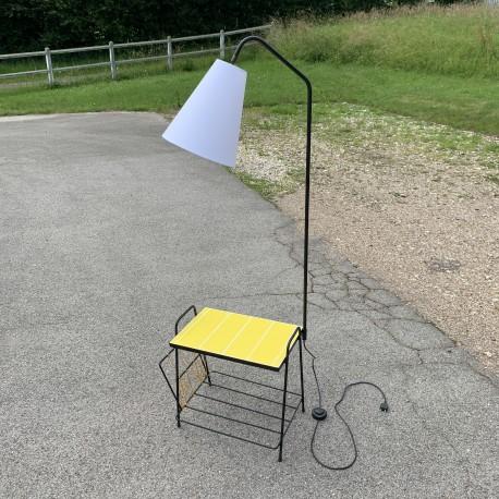 Lampadaire liseuse avec tablette en céramique jaune