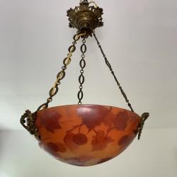 Suspension vasque verre peint émaillé Leune feuilles France 1920 (no Legras Daum