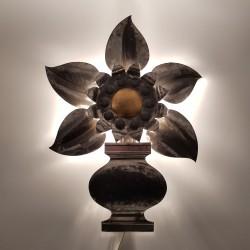 Applique fleur en metal blanc vintage