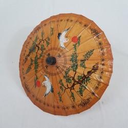 Ombrelle chinoise en papier de riz huilé décor grue oiseau asie chine asiatique