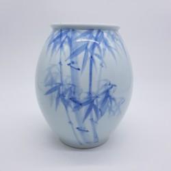 Vase ancien décor de bambou céramique blanche Chine ? Japon ?