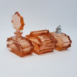 Ensemble de salle de bain Flacon bouteille ancien en cristal rose Art Deco