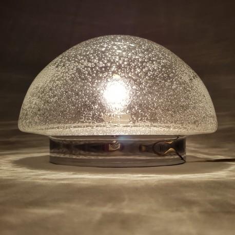 Plafonnier en verre bullé et chrome vintage design