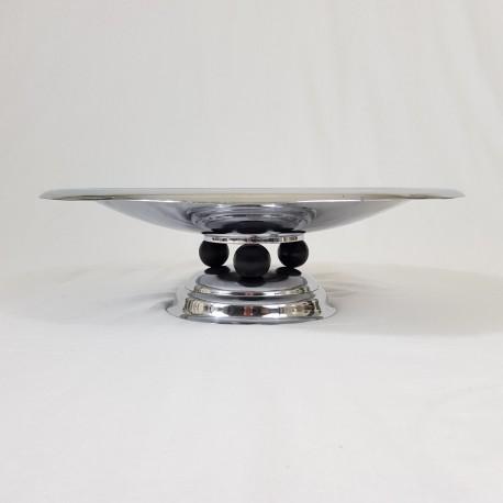 Grande coupe a fruits en laiton chromé Art Déco Moderniste Bauhaus