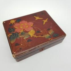 Boite en bois laqué japonaise décor d'oiseau Japan Wood Lacquer box Meiji period