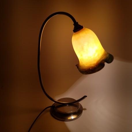 Lampe Art Déco pate de verre Le Verre Francais Schneider Metal chromé