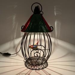 Lampe veilleuse suspension cage oiseau céramique à suspendre vintage