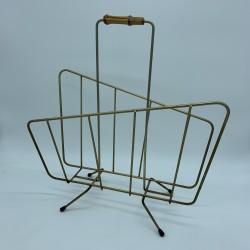 Porte revue vintage en acier doré poignée bambou Look retro fifties sixties