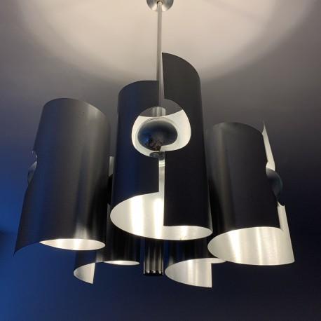 Suspension lustre 5 feux en aluminium brossé vintage space age DLG Max Sauze