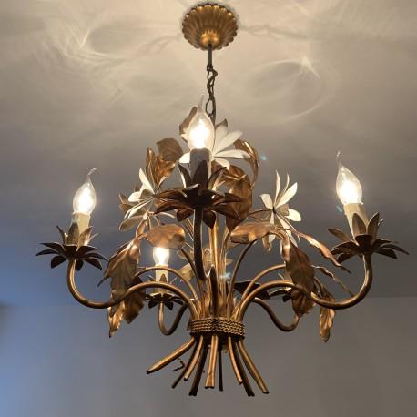 Lustre 5 feux en métal doré  épis de fleurs DLG Bagues Paris Hollywood Regency