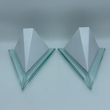 Paire d'appliques design vintage 1980 neo art deco moderniste (no memphis)