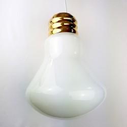 Lustre ampoule géante Globe verre opaque et dorure