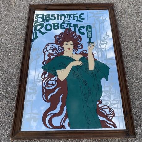 Grand miroir peint publicitaire absinthe Robette