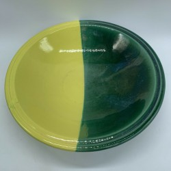 Plat de service coupe saladier céramique bicolore jaune vertvintage