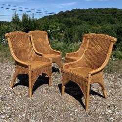 Ensemble de 4 fauteuils en rotin et bambou
