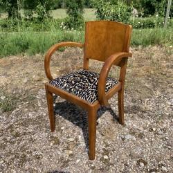 Fauteuil bridge assise léopard et dossier en loupe